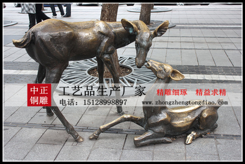 铜鹿雕塑图片